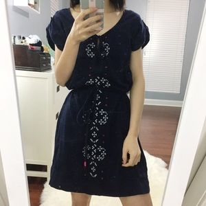 AMERICAN EAGLE Embroidered Navy Blue Dress